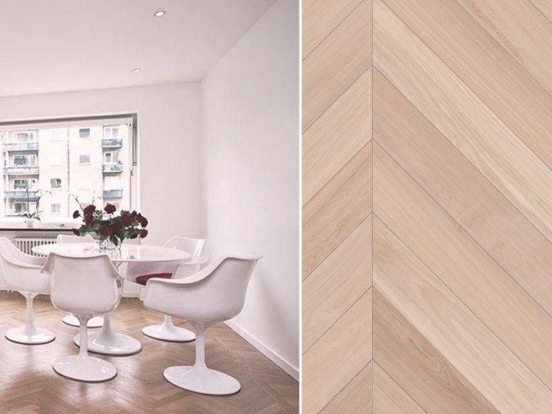 Parchet Dublustratificat - Parchet Stejar albit Colectia Chevron | Carpet&More